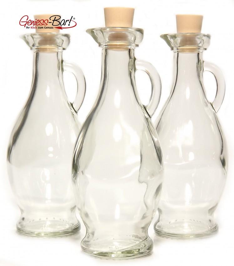 3 glas flaschen egizia 0 25l leer essig l lik r karaffen. Black Bedroom Furniture Sets. Home Design Ideas